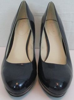 Nickels Blue Glossy Platform Pumps With 4 inch heels  Size 9.5M UK 7.5 Manmade material No box
