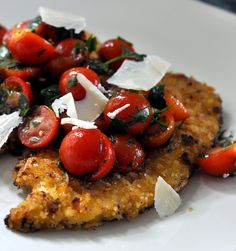 This lightened twist on Chicken Parmesan comes together quickly and makes for a perfect weeknight dinner. Turkey Cutlets, Chicken Cutlets, Wine Recipes, Cooking Recipes, Gourmet Cooking, Duck Recipes, Chicken Milanese, Parmesan Recipes, Tomato Salad