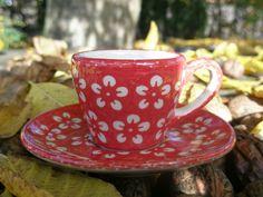 Espresso-Tasse & Unterteller, 2. W., Bunzlau rot, BSN J-923