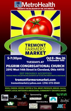 The #Tremont Farmers' Market is currently holding an indoor market every Tuesday thru November 26. Check it out!