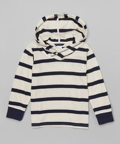 Look what I found on #zulily! White & Navy Stripe Hooded Rugby Pullover - Toddler & Boys #zulilyfinds