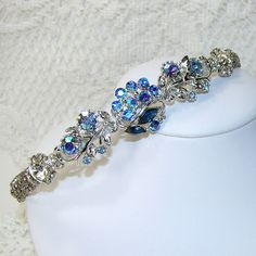Blue Jeweled Headband Rhinestone Hairpiece Bohemian Hair Accessories Vintage Jewelry Wedding Headpiece Prom Accessory Dazzling AB Coro WEISS on Etsy, $95.00