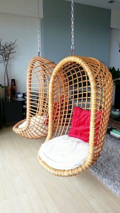 Beautiful hanging egg chair.