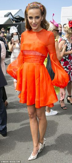 Bec Judd wearing Alex Perry dress and crystal-laden head band by Hatmaker by Jonathan Howard, at Melbourne Cup 2015