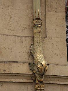 Drainpipe architectural detail - Hôtel de Lauzun, Paris