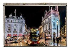Canvas Wall Scroll Poster (32x20 inches) Man Made London Man Made City England Bus Building Street Architecture RYDK_688699 - Brought to you by Avarsha.com