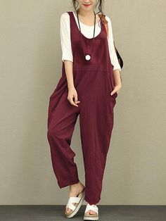 be3380e51247 Only US 30.99 shop women sleeveless strap loose cotton harem jumpsuit at  Banggood.com.