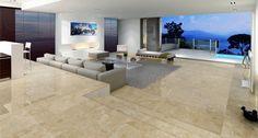 Salón con suelo de mármol Crema Marfil