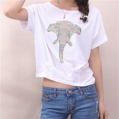 Elephant Printed White Crop Top