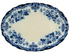 Flow Blue Large Serving Platter Kew Pattern Antique English circa 1915 #VintageRetro