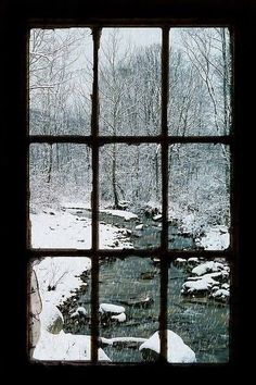 Looking Out The Barn Window,Snow Creek, Portsmouth, Ohio - Windows are so much more than mere openings Winter Szenen, I Love Winter, Winter Magic, Winter Time, Winter Christmas, Looking Out The Window, Window View, Window Panes, Rear Window