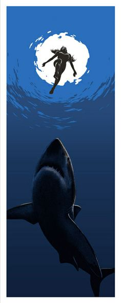 """Come on in the water"" by Andrew Swainson 4 Colour screen print inspired by ""Jaws"".  12 x 30 inches. £25.00 http://andrewswainson.bigcartel.com"
