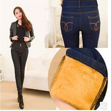 2015 Jeans Women Winter Gold Fleeces Inside Denim Jean Solid Pencil Pants Double Buttons Warm Thickening Pants P8018(China (Mainland))