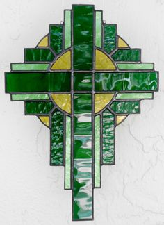 Items similar to Stained Glass Cross Suncatcher, Green #106 on Etsy