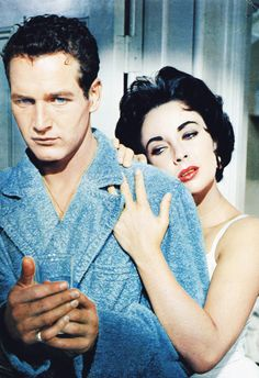 Paul Newman and Elizabeth Taylor in Cat on a Hot Tin Roof, 1958 via http://hollywoodlady.tumblr.com/