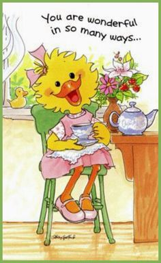 Suzy's Zoo Mother's Day Greeting Card - Suzy Ducken with a Tea Pot Mother's Day Greeting Cards, My Beautiful Friend, Birthday Wishes, Zoo Birthday, Make You Smile, Cartoon Characters, Cute Art, Good Morning, Cute Pictures