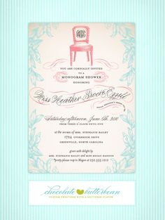 Heather Ezzell Monogram Shower Invitation   # Pin++ for Pinterest # @Britney Glass