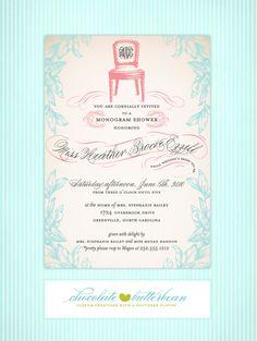 Heather Ezzell Monogram Shower Invitation