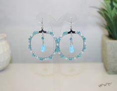 Multi colour Aqua and White Crystal Bead Blue Czech Glass Teardrop Handmade Hoop Earring by EmeraldaCrystal on Etsy