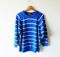 Cobalt Blue Oversized Sweater. $38.00 USD, via Etsy.