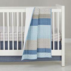 Patterned Print Bedding (Blue/White/Khaki)   The Land of Nod