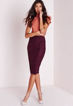 Missguided - Laser Cut Hem Faux Suede Midi Skirt Burgundy