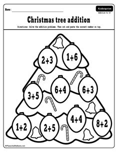 Fun Christmas addition worksheets free printable - Christmas math worksheets perfect for morning work. Christmas Worksheets Kindergarten, Kindergarten Morning Work, Kindergarten Addition, Homeschool Worksheets, Homeschool Math, Homeschooling, Math Lessons, Math Activities, Addition Worksheets