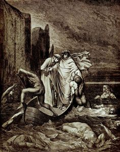 Dante and Virgil crossing the river Styx. Engraving from 1870 (90?) by Gustave Dore (Picture appears before the prologue of Gabriel's Inferno by Sylvain Reynard)