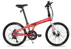 "Allen Sports Atocha Aluminum 24"" Wheeled Folding Bike with Disc Brakes & 18 Speeds, Red"