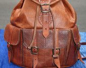 Leather Backpack with Hand Stitching. $169.00, via Etsy.