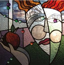 Eve - stained glass with fused glass inclusions and wire work. By June Derksen. Sold.