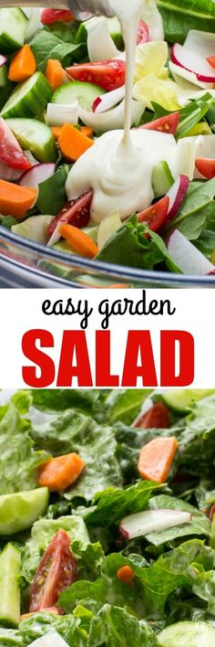 If eating more salad is on your list, it just got easier! Make an easy Garden Salad with fresh veggies and an equally simple, tasty salad dressing.