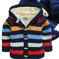 ( 0 3Y ) bebé suéter cardigan gruesa de algodón de punto multi striped suéter bebé caliente niños niño cardigan de lana forro de la chaqueta de punto en Suéteres de La madre y Los Niños en AliExpress.com | Alibaba Group