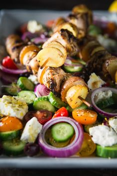 Greek Kebabs with Little Potatoes on the Grill - The Little Potato Company *** sub 1 full cup olive oil, no mayo. Greek Potatoes, Little Potatoes, Veggie Kabobs, Chicken Kabobs, Kebab Recipes, Grilling Recipes, Greek Kebab, Kebabs, Dinner Ideas