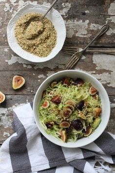 Fig Zucchini Pasta with Hemp Seed Crumble, figs, zucchini noodles, hemp seeds