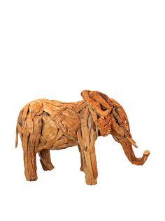 Asian Loft Teak Driftwood Elephant Sculpture, Natural