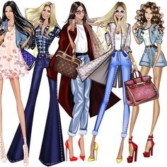 Illustration by Anna Shershen Fashion Artwork, Fashion Design Drawings, Fashion Sketches, Drawing Clothes, Dress Drawing, Fashion Figures, Fashion Portfolio, Designs To Draw, Glamour