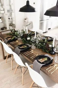 Rustic dining room table - Modern + classic Christmas tablescape with gold flatware, branches + pinecones Happy Grey Lucky Christmas Table Settings, Christmas Table Decorations, Food Decorations, Christmas Table Set Up, Simple Table Decorations, New Years Eve Decorations, Thanksgiving Table Settings, Centerpiece Ideas, Diy Table