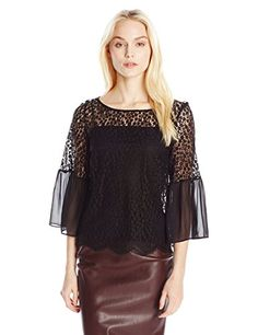 Only Hearts Women's Darling Boat Neck Lace Bell Sleeve Bl...