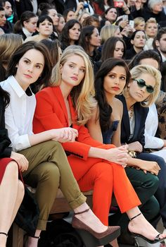 front row at Burberry Prorsum: Michelle Dockery, Rosie Huntington-Whiteley, Freida Pinto and Rita Ora