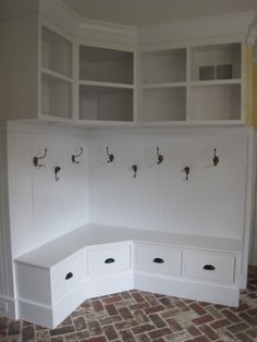 adorable corner bench/drawer with hooks & high shelving