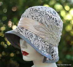 20s Vintage Style Cloche Flapper Wedding Hat in Silk Lace and Rhinstones, Bridal Hat, Mother of the Bride Hat, Lace Hat, Hats for Weddings