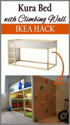 Climbing Wall and Bunk-Bed Ensemble - MisterMudu - . - Ikea DIY - The best IKEA hacks all in one place Ikea Kura Bed, Kura Bed Hack, Ikea Loft Bed Hack, Ikea Kura Hack, Ikea Hack Kids, Ikea Kids Room, Hacks Ikea, Diy Hacks, Bed Ensemble