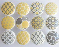 Gray Chevron Knobs, Gray Pattern Drawer Knobs, Gray Knobs, Chevron ...