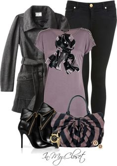 """Purple, Black and Grey"" by in-my-closet on Polyvore"