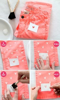 DIY- probably wouldn't use hearts, but a cool design/stencil. { love the coral color | try it with a sea foam green pant also }