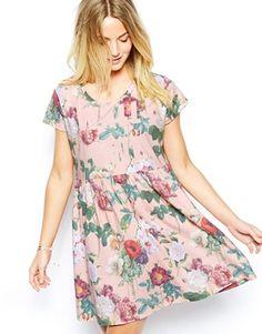 ASOS Smock Dress In Wall Flower Print