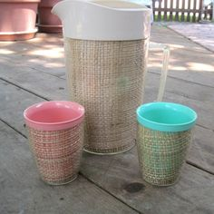 1960's Thermal Ware Raffia Melmac Pitcher with Pink and Green Tumblers ...