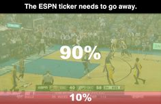Petition to remove the ESPN ticker banner. 5 reasons. From the article: ESPN, ESPN ticker, Twitter, sports updates, sports scores, mobile devices, Twitter, Twitter app, TV programs, phone, tablet, screen real estate, sports app, CBS sports app, NCAA football, NCAA basketball, petition, change.org