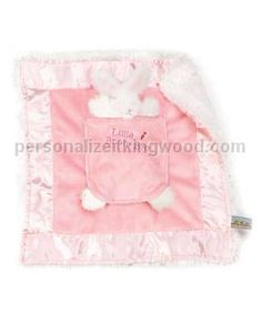 """Lulla Bunny Bye Binkie - Pink. Snuggly binkie has plush white cuddle fur on one side and satin trimmed pink velour on the other. An adorable bunny friend rests in a center pocket embroidered """"Lulla bunny bye"""". With her sweet head popping out the top and her little feet poking out the bottom she is sure to delight! The perfect security blanket for your special baby! Machine wash cold. Tumble dry NO heat. Size: 12"""" x 14"""""""